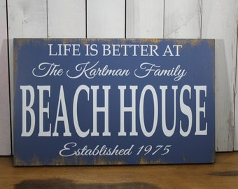 LIFE is Better at the BEACH house Sign/Personalized/Large Sign/Wood Sign/Family Name/Established Date/Beach Decor/Nautical