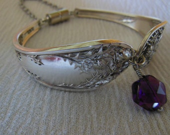 Outlander Antique Spoon Bracelet  Thistle with Amethyst     7.5 inch