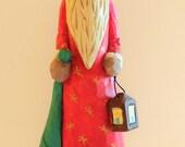 Hand Carved Santa Old World Style Folk Art Wood Handmade Whittled Christmas Art Sculpture Figurine