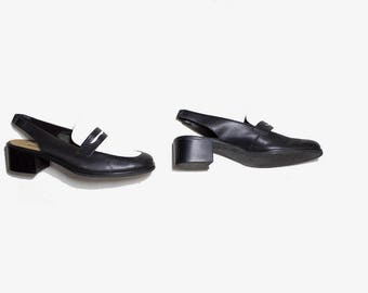 Vintage Leather Mules 9.5 / Two Tone Leather Mules / Slingback Heels / Slingback Mules / Leather Penny Loafers