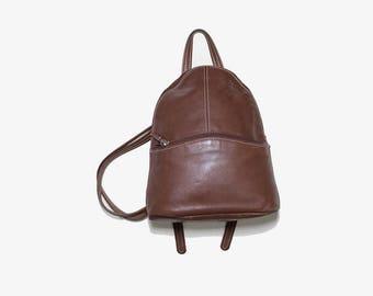 Vintage Leather Backpack / Brown Leather Backpack / Mini Leather Backpack /Leather Knapsack / Leather Shoulder Bag
