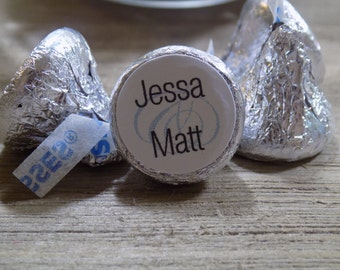 Personalized Hershey Kiss Sticker with Bride and Grooms Names