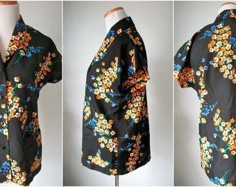 Black HAWAIIAN shirt with hibiscus and blue ginger flowers - Diane's Hawaii