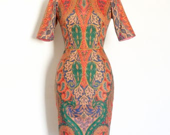 Rich Paisley Print Cotton Satin Pencil Dress - Made by Dig For Victory