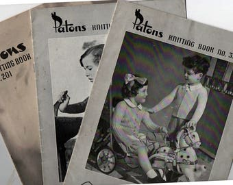 LOT of THREE 1940s/50s Vintage Kids Knitting Patterns Booklets Patons 362 201 337 Original patterns not PDF