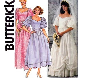 80s Wedding Dress Pattern Butterick 3137 Sweetheart Neckline Princess Seams Full Skirt Sash Vintage Sewing Pattern Size 12 Bust 34 inches