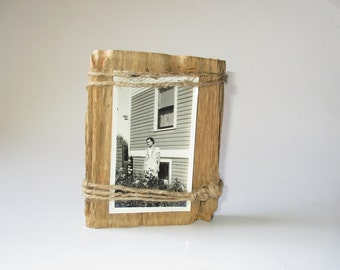 Live Edge Pecky Cypress Small Reclaimed Wood Frame, Twine Wrapped Picture Holder