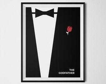The Godfather Movie Poster, The Godfather Minimalist, The Godfather Print, Classic Movies, Marlon Brando, Al Pacino, The Godfather Wall Art