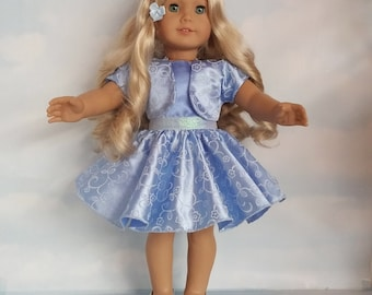 18 inch doll clothes - Blue Glitter Dress and Jacket Handmade to fit the American Girl Doll - FREE SHIPPING
