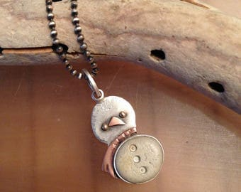 Baby SnowBird Necklace, Let it Snow, sterling, beach stone, copper, 14ktgold