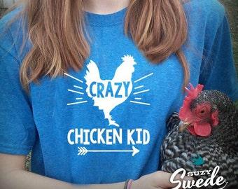 Crazy Chicken Kid T-shirt - raising chickens, farm kid, backyard chickens, funny chicken shirt, farm shirt, youth t-shirt