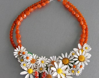 He Love Me, He Loves Me Not. Vintage Repurposed Enamel Statement Necklace.