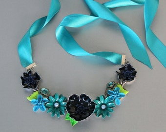 Blue Forget Me Not Flower Necklace made from Enamel and Rhinestone Earrings