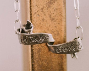 Stay Gold Banner Pendant