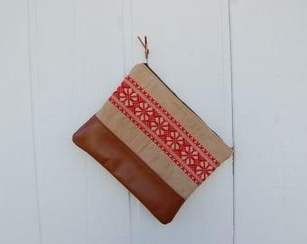 Red Vintage Textile Passport Clutch