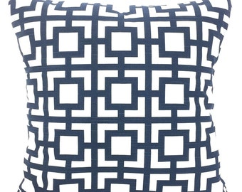 Navy Blue Pillow Covers, Decorative Throw Pillows, Cushion Covers, Premier Navy Blue White Geometric GiGi, Couch, One or More All Sizes