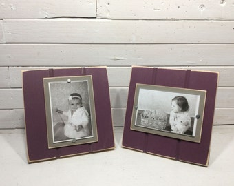 Stand up, desktop picture frame holds 4x6 brown gray and plum purple