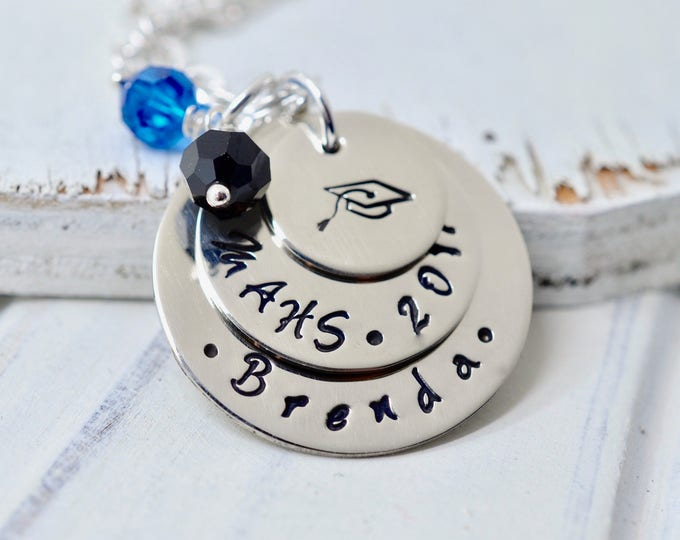 Personalized Graduation Necklace, Senior Necklace, Class of 2013, High School, College, Gift, Graduation Cap Necklace, Hand Stamped Jewelry