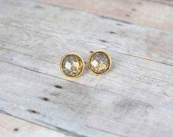 T H I S T L E  - Gray and Gold Sparkle, Gold Leaf Foil, Gold Toned Brass Stud Earrings, 10mm or 12mm