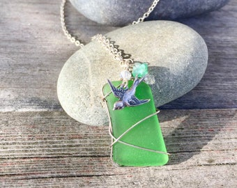 CLEARANCE SALE - Sea Glass and Swallow Necklace . Genuine Seaglass Lucky Charm Pendant .