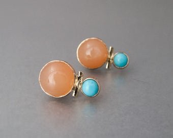 Turquoise and Peach Moonstone Stud Earrings in solid 14k Yellow Gold - Ready to Ship