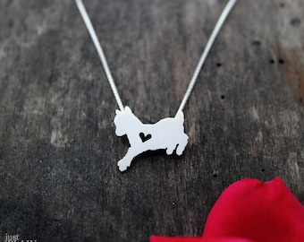 Baby Goat necklace, sterling silver, tiny silver hand cut pendant with heart, Pygmy goat