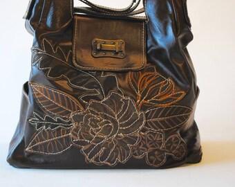 Leather tote bag, floral appliqué,dark chocolate ,Large,travel
