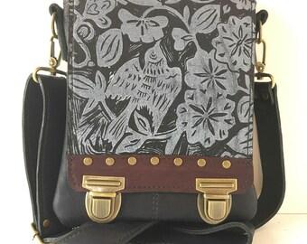 "Leather messenger bag,navy blue , small, cross body, sparrow print ,""Leeds satchel"""