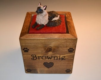 Custom Pet Urns- With a wooden bottom and custom sculpture on top, small size for cats, small dogs or any small pet. 100% custom, pet urn