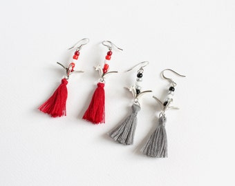 Japanese Origami Crane Earrings with Tassels (2 colors available)