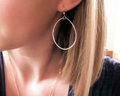 Rose Gold Hoop Earrings - Thin Rose Gold Filled Hoop Earrings - Rose Gold Oval Hoop Earrings - Delicate Gold Hoops