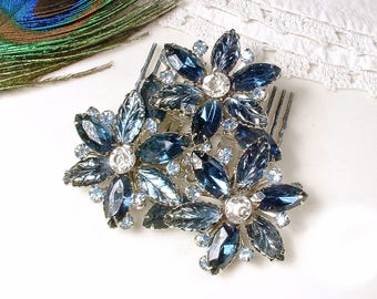 OOAK Navy Bridal Hair Comb OR Dress Sash Brooch, Sapphire Blue Rhinestone Silver Flower Accessory/HairPiece Vintage Wedding Navy Headpiece