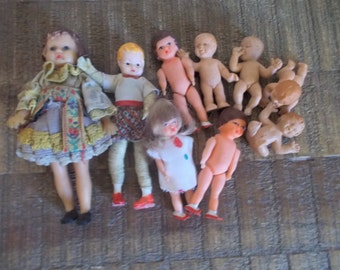 Instant Collection of Nine Little Vintage Rubber Baby Dolls