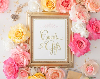 Wedding Reception Sign, Cards & Gifts Wedding Sign, Gift Table Sign, Printed Cards and Gifts Wedding Sign, 8x10 Blush and Gold Sign PRINTED