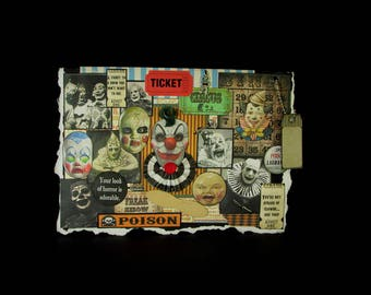 Circus Clown Card, Blank Clown Card, Clown Card, Scary Clown Card, 104, Creepy Clown Card, Vintage Clown Images, Creepy Decoration,  Blank