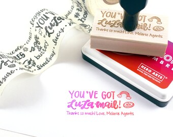 Shop Exclusive - YOU'VE GOT LULAMAiL! rubber stamp with rainbow and donut - hand lettered custom wood stamp