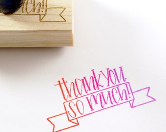 Shop Exclusive rubber stamp - Thank you so much! with ribbon banner detail - modern hand lettering - thank you stamp