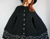 70s 1970s Black Tribal Geo Boho Hippie Design Thick Winter Sweater Poncho Cape, Vintage, Size Large, FREE SHIPPING