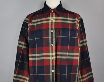 Women's Grunge Shirt, Plaid Flannel Shirt, Vintage 90s ,Navy, Maroon, Outdoor, Rustic, Long Sleeve, Button Down, Size Medium, FREE SHIPPING