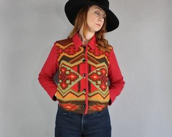 Women's Red Navajo Blanket Style Jacket, Vintage 90s, Made in Peru, Alpaca Wool Blend, Southwest, Western, Size Medium