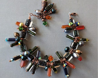 Dichroic Furnace Glass Beads, Freshwater Pearls, Swarovski Crystals Art Glass Copper Charm Bracelet