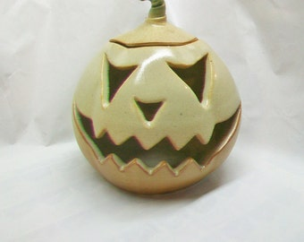 Halloween Pumpkin Decoration, Luminary - Candle holder, Tea Light - Toothy Jack o lantern -Handmade on the Potters Wheel - Ready to ship