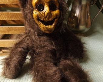 Original hand sewn Creepy Scarecrow Teddy Bear Doll