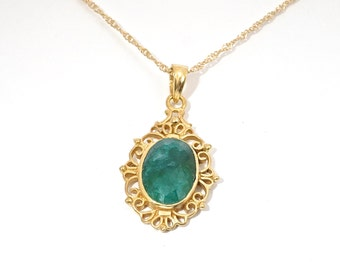 Emerald Necklace, Victorian Necklace, Green Pendant Necklace, Bohemian Necklace, Designer Necklace, Handmade Necklace, Gold Jewelry, Jewelry
