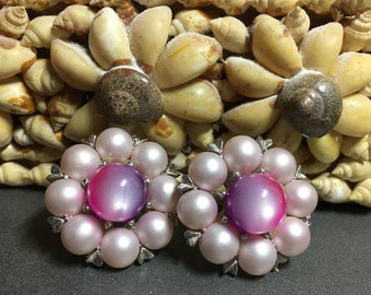 1950's Pink Pearl & Moonstone Moonglow Cluster Clip-on Earrings - EPSTEAM - vintage bride - Glam - Pin up - Vamp - Mad Men - Mid Century