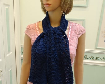 COUNTESS OF BATHORYof Hungary Scarf, navy blue  48 inchs long, hand knitted in an Feather and fan  pattern stitch