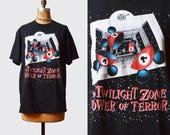 Vintage 90s Disney World Shirt Twilight Zone Tower of Terror TShirt / 1990s Mickey Mouse Cartoon Retro T Shirt Medium M L