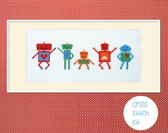 "Robots cross stitch kit: - "" cute dancing robots"" - embroidery kit, diy kit"