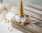 Magical - white gold sequin tulle satin flower metallic unicorn horn ears headband bow