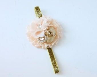 Good Company -- metallic gold and peach rosette ruffled ribbon headband bow